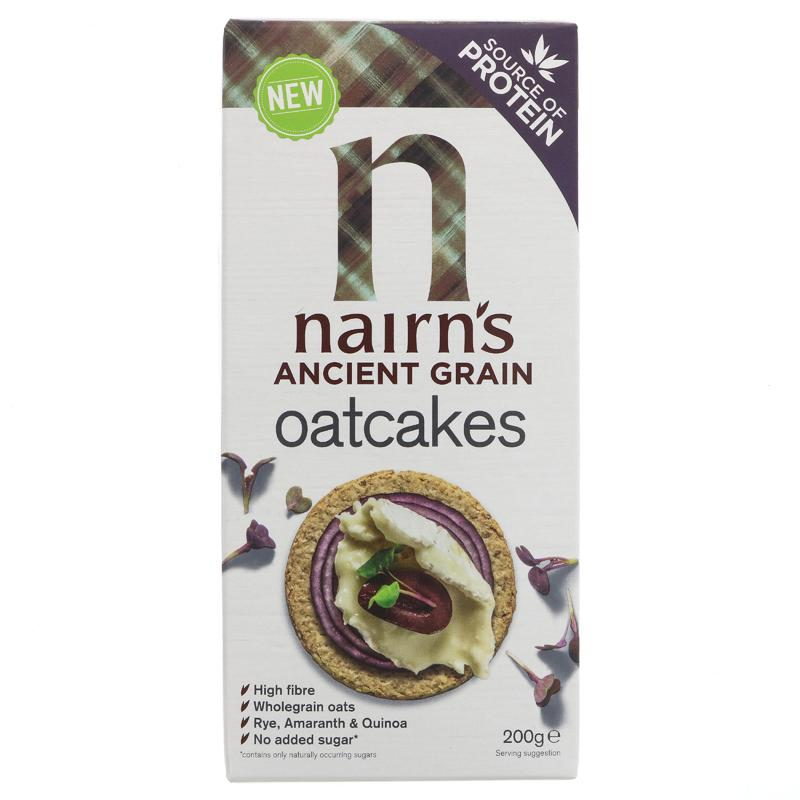 A box of Nairn's ancient grain oatcakes, sold by Spence hall