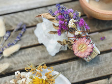 Load image into Gallery viewer, Flower and Crystal Smudge stick Dried flower sage stick, white sage stick, cleansing ritual, smoke ritual, wildflowers, dried flowers, florist, flower diy, pressed flowers,