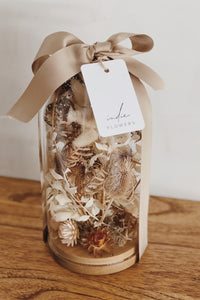 Everlasting Dried Flower glass Domes are filled with  dried wildflowers frame pressed flowers