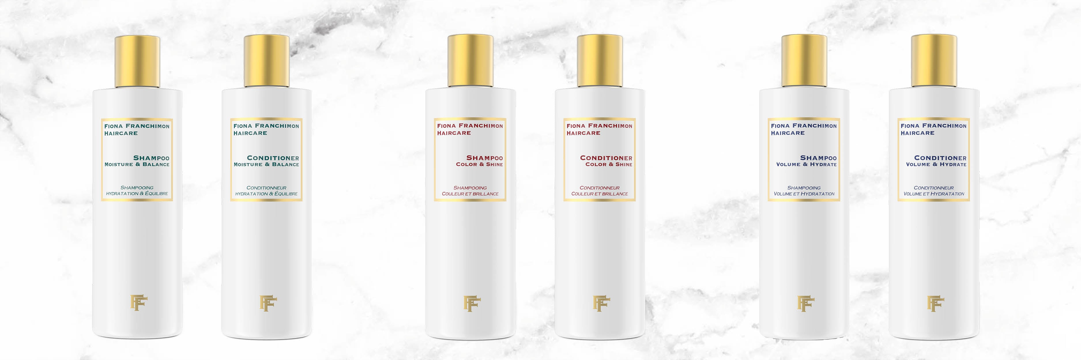 All shampoo and conditioner lines from fiona franchimon haircare