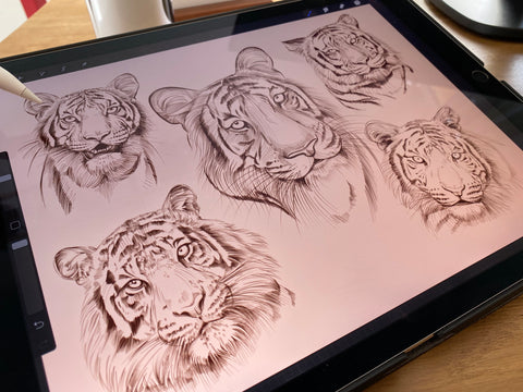 19 tiger brushes and stamps for Procreate app by PeonyBrush