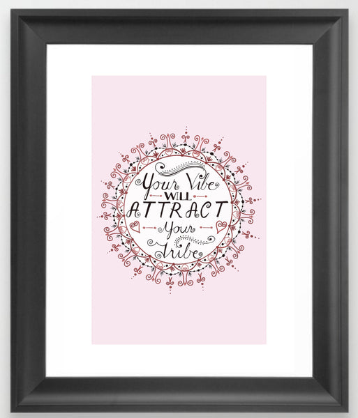 Mandala Art Print, 'Your Vibe Will Attract Your Tribe', Geometric Print, Motivational Art, Mandala Wall Decor, Blue, Red, Grey, Marble