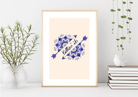 Mandala Art Print, 'Killin' It', Motivational Art, Wall Art, Mandala Wall Decor, Typography, Home Decor, Blue, Purple, Black