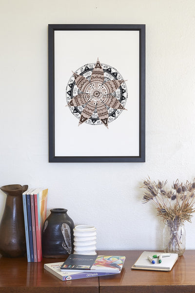 Mandala Art Print, Geometric, Zen Wall Art, Wall Art, Home Decor, Meditative Spiritual Art Print, Mandala Wall Decor, Sepia, Brown, Black
