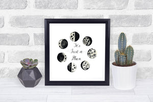 Moon Phase Art Print, Nature Print, Motivational Art, Wall Art, Home Decor, Wall Decor, Black