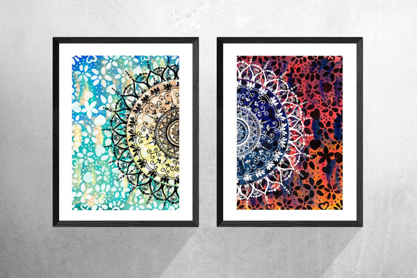 Mandala Art Prints, Geometric, Zen Wall Art, Wall Art, Home Decor, Mandala Wall Decor, Colourful
