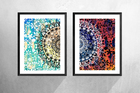 Colourful Set of 2 Geometric Mandala Art Prints