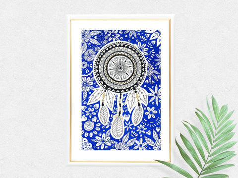 Blue Dreamcatcher Mandala Art Print