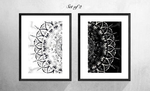 Black and Grey Set of 2 Geometric Mandala Art Prints