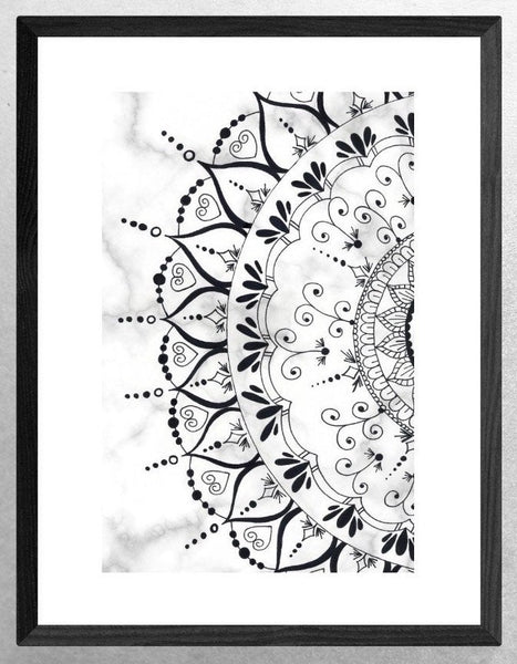 Mandala Art Prints, Geometric, Zen Wall Art, Wall Art, Home Decor, Mandala Wall Decor, Grey, Black, Marble, Neutral Colour, Bedroom Decor