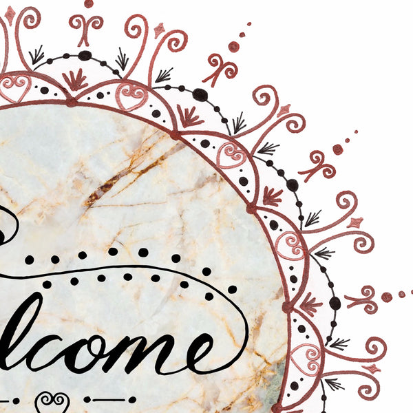 Welcome Sign Front Door, Welcome Sign, Front Door Sign, Marble Welcome Sign, Mandala Print, Party Welcome Sign, Entryway Decor