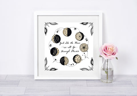 Mandala Moon Phase Art Print, Nature Print, Motivational Art, Wall Art, Home Decor, Mental Health Decor, Wall Decor, Black