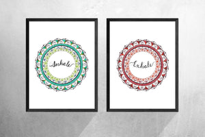 'Inhale Exhale' Set Of 2, Zen Art Print