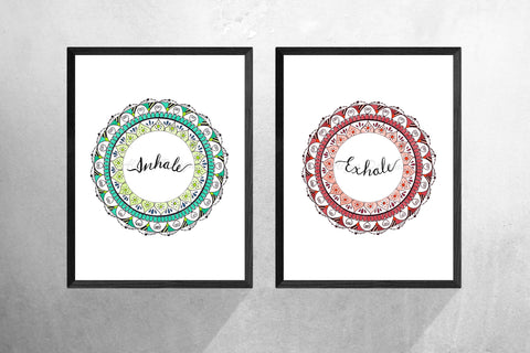 Inhale Exhale Set Of 2, Zen Wall Art, Inhale Exhale Print, Yoga Print, Bedroom Wall Art, Boho Poster, Bedroom Decor, Home Decor, Mandala Art