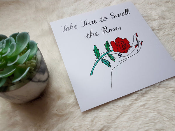 Hand and Rose Art Print, Nature Print, Motivational Art, Wall Art, Home Decor, Wall Decor, Red