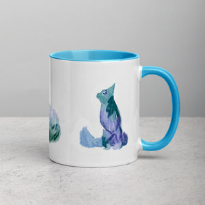 Watercolour Cats Mug with Color Inside