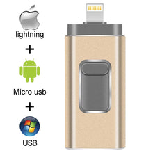Load image into Gallery viewer, Pendrive 128GB 3 in 1 iPhone USB Flash Drive OTG 32GB Pendrive 3.0 Cle Usb Flash Drive 64GB For for iPhone /Android/Tablet PC