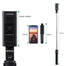 Load image into Gallery viewer, 3 in 1 Wireless Bluetooth Selfie Stick Foldable Mini Tripod Expandable Monopod with Remote Control for iPhone IOS Android