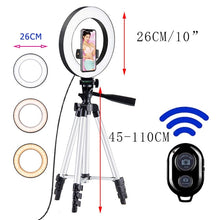 Load image into Gallery viewer, 26cm Photo Ringlight Led Selfie Ring Light Phone Bluetooth Remote Lamp Photography Lighting Tripod Holder Youtube Video