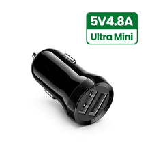 Load image into Gallery viewer, Mini USB Car Charger For Mobile Phone Tablet GPS 4.8A Fast Charger Car-Charger Dual USB Car Phone Charger Adapter in Car