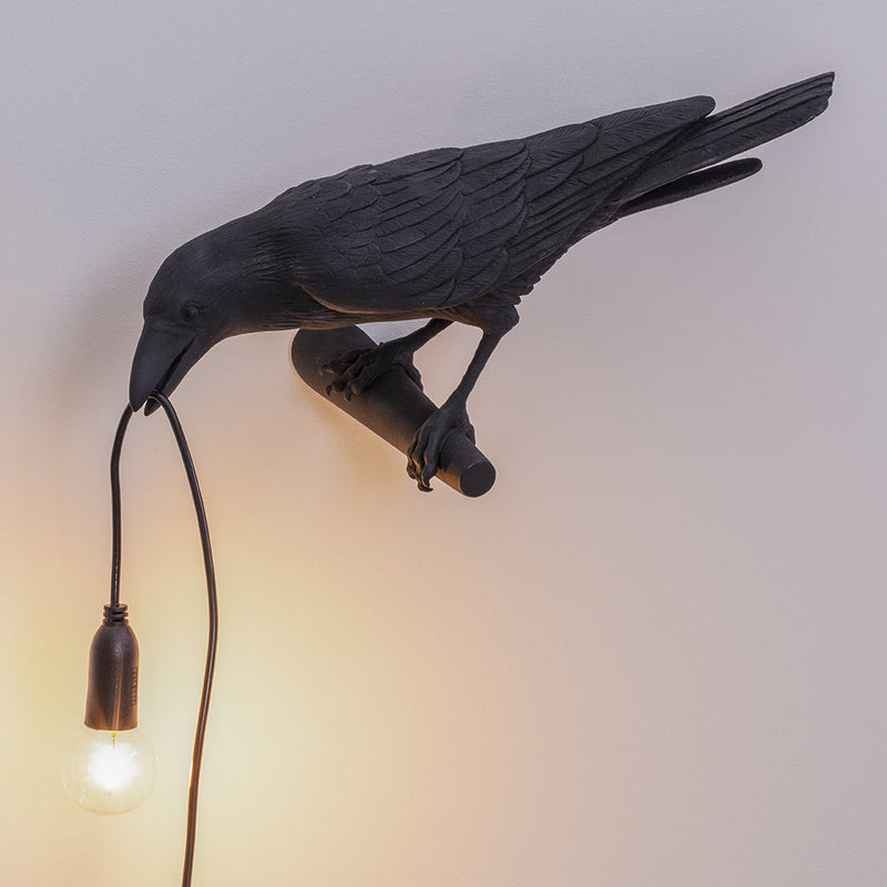 Bird Wall Lamp - Looking, Black