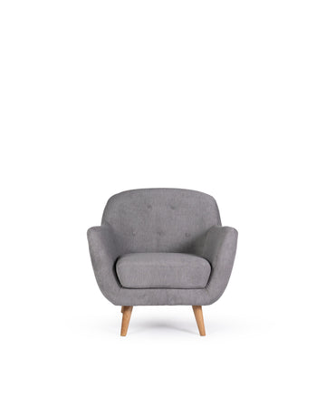 Modern Grey Fabric Arm Chair | Aurora | Front View | MoblerOnline