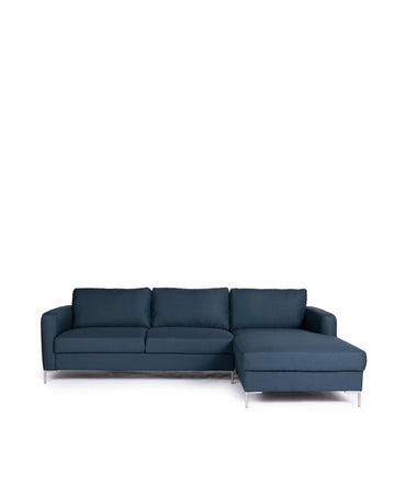 Modern Dark Blue Fabric Sectional Sofa | Assos | Front View | MoblerOnline