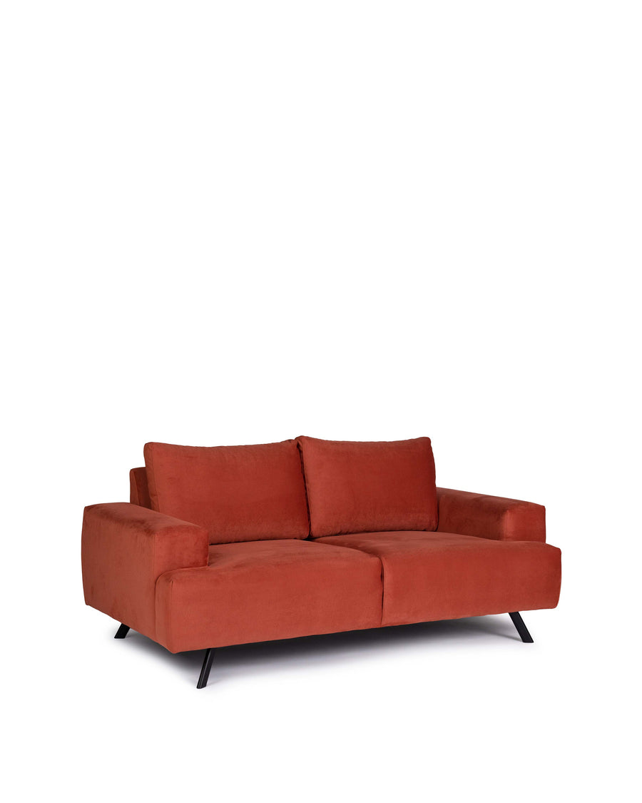 Contemporary Orange Micro Fabric Loveseat | Lindos | Angle View | MoblerOnline