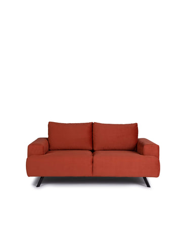 Contemporary Orange Micro Fabric Loveseat | Lindos | Front View| MoblerOnline