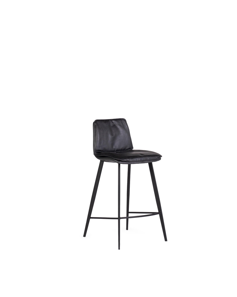 Modern Leather Counterstool In Black | Ballarat | Angle View | MoblerOnline