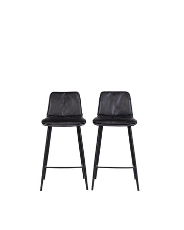 Modern Leather Counterstool In Black | Ballarat | Front View | MoblerOnline