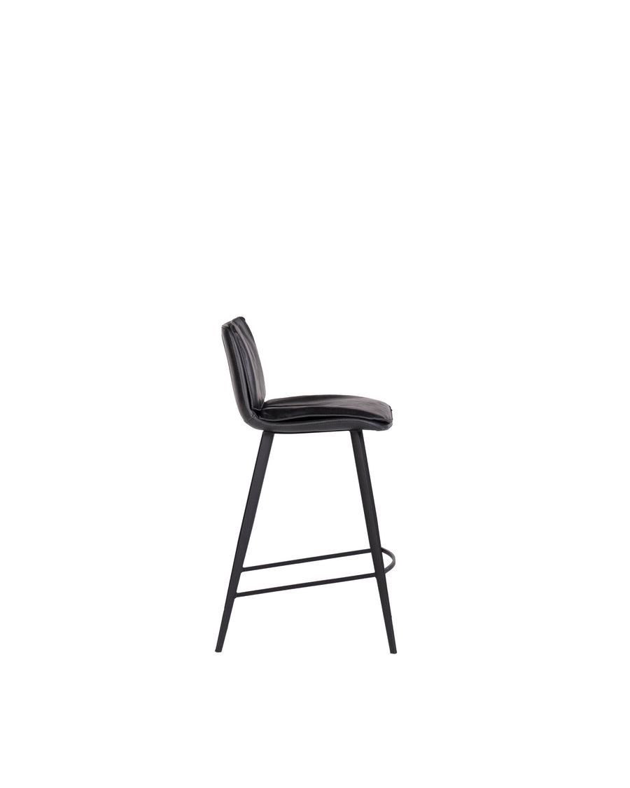 Modern Leather Counterstool In Black | Ballarat | Side View | MoblerOnline