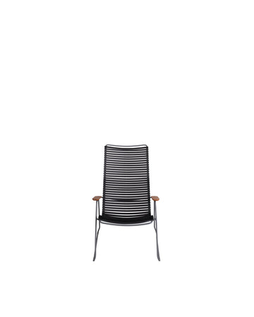 Black Modern Patio High Back Lounge Chair | Click | Front View | MoblerOnline