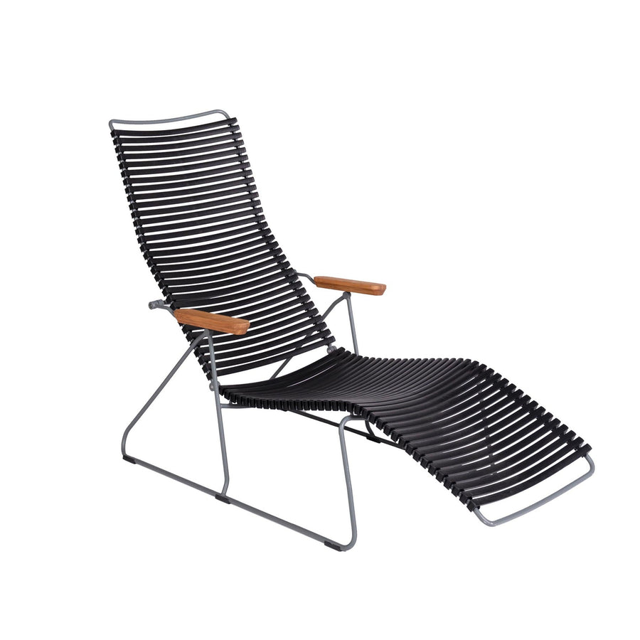 Black Modern Patio Sunlounger Chair | Click | Angle View | MoblerOnline