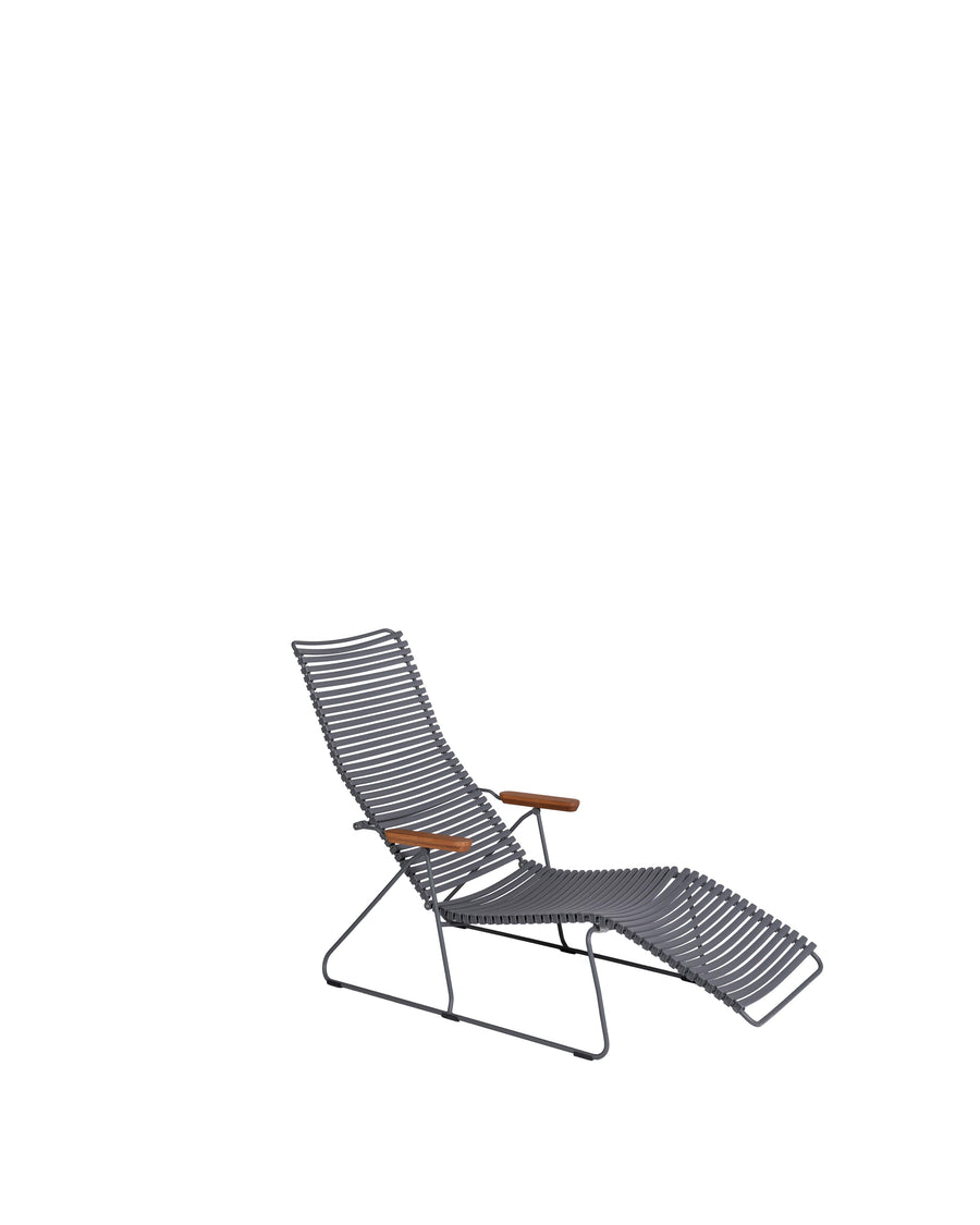 Grey Modern Patio Sunlounger Chair | Click | Angle View | MoblerOnline