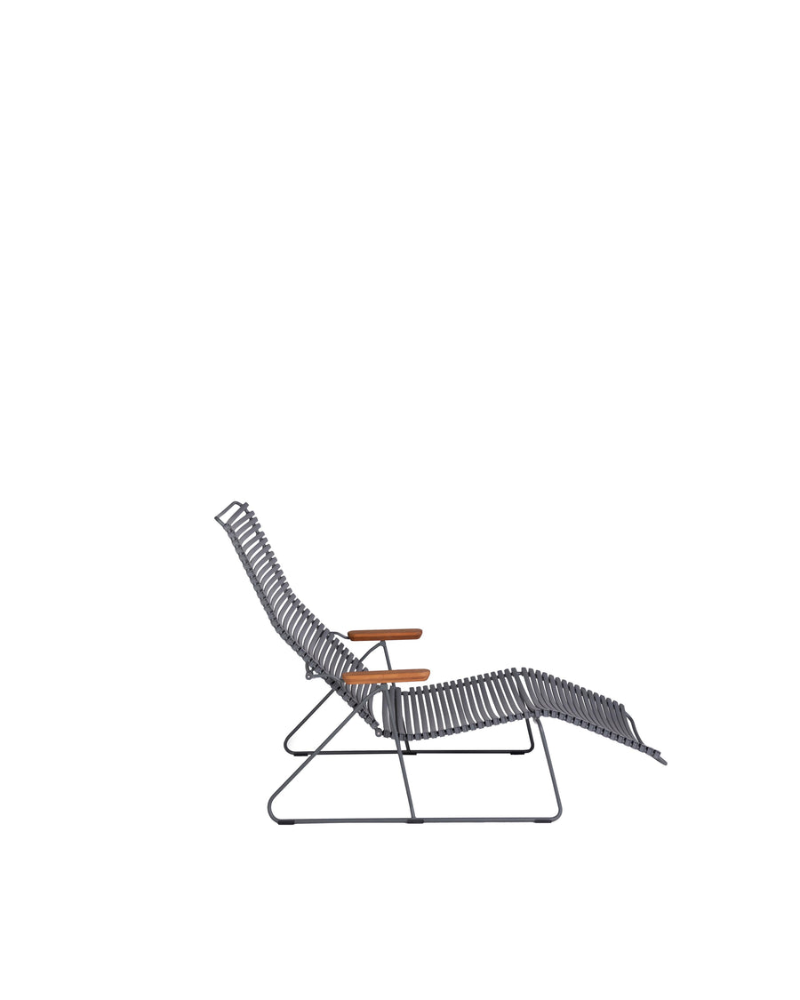 Grey Modern Patio Sunlounger Chair | Click | Side View | MoblerOnline