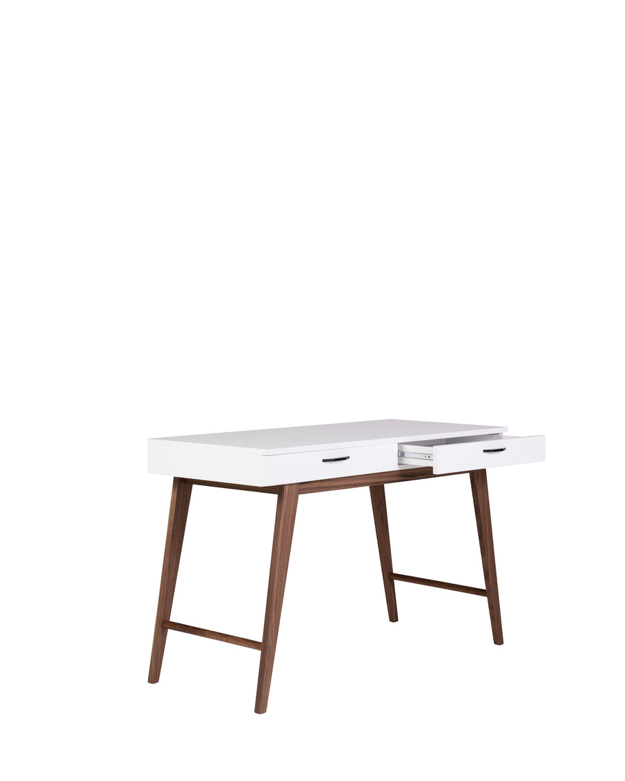Modern Glossy White Desk | Dahlia | Angle View with Open Drawer | MoblerOnline