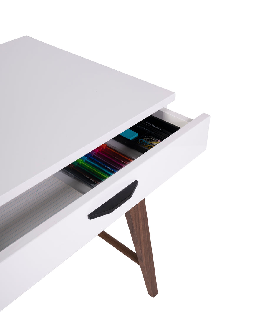 Modern Glossy White Desk | Dahlia | Open Drawer Close Up View | MoblerOnline