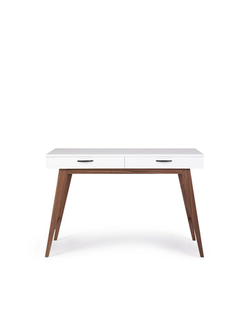 Modern Glossy White Desk | Dahlia | Front View | MoblerOnline