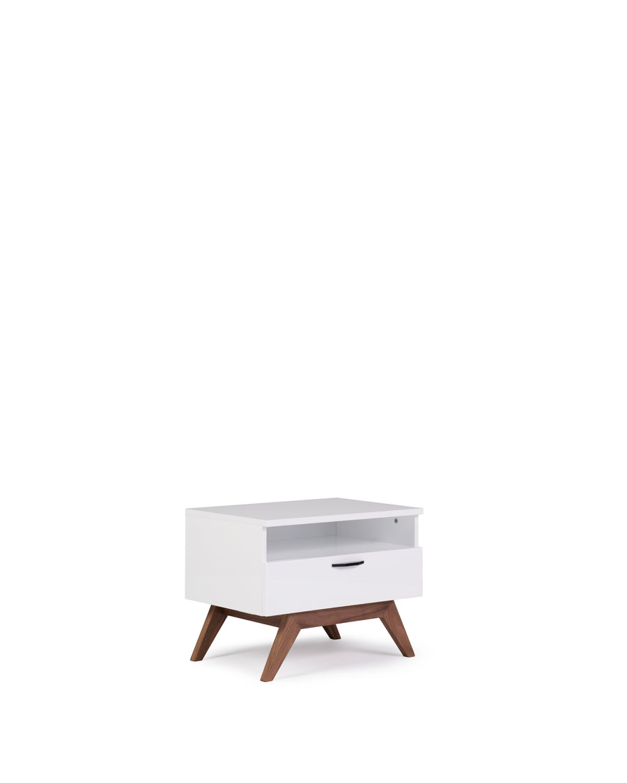 Modern Glossy White Nightstand | Dahlia| Angle View | MoblerOnline