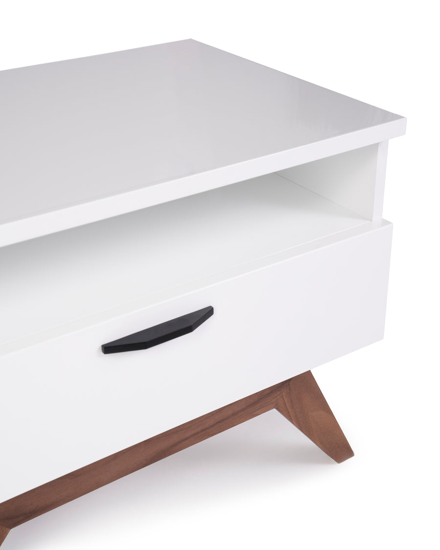 Modern Glossy White Nightstand | Dahlia| Detail Close Up | MoblerOnline