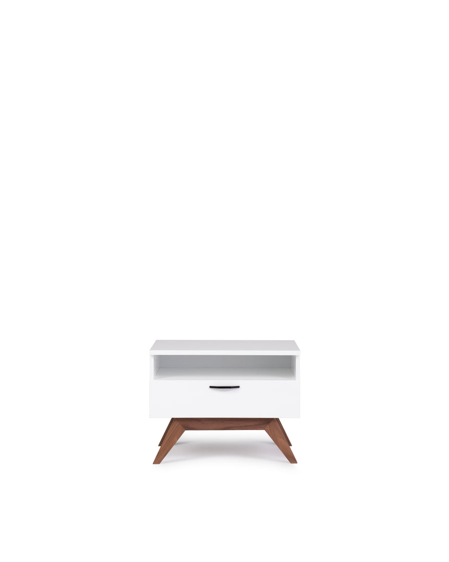 Modern Glossy White Nightstand | Dahlia| Front View | MoblerOnline