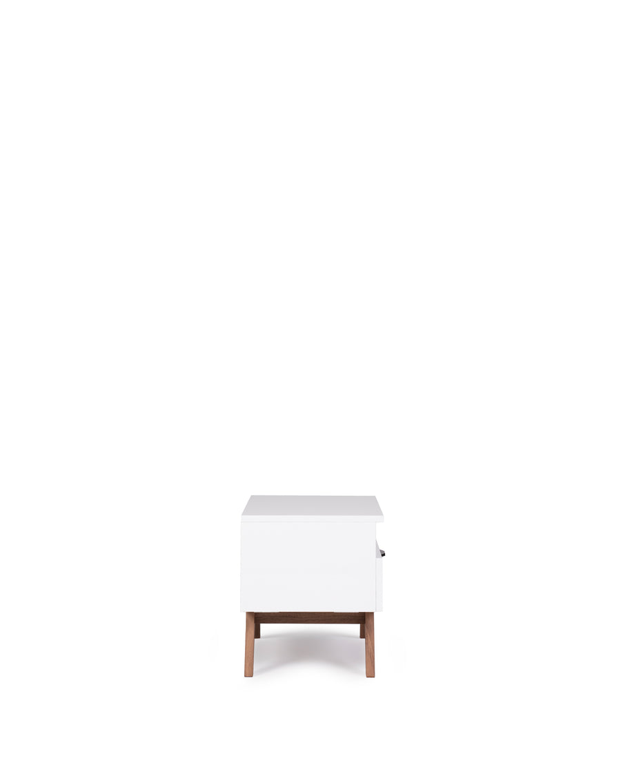 Modern Glossy White Nightstand | Dahlia| Side View | MoblerOnline