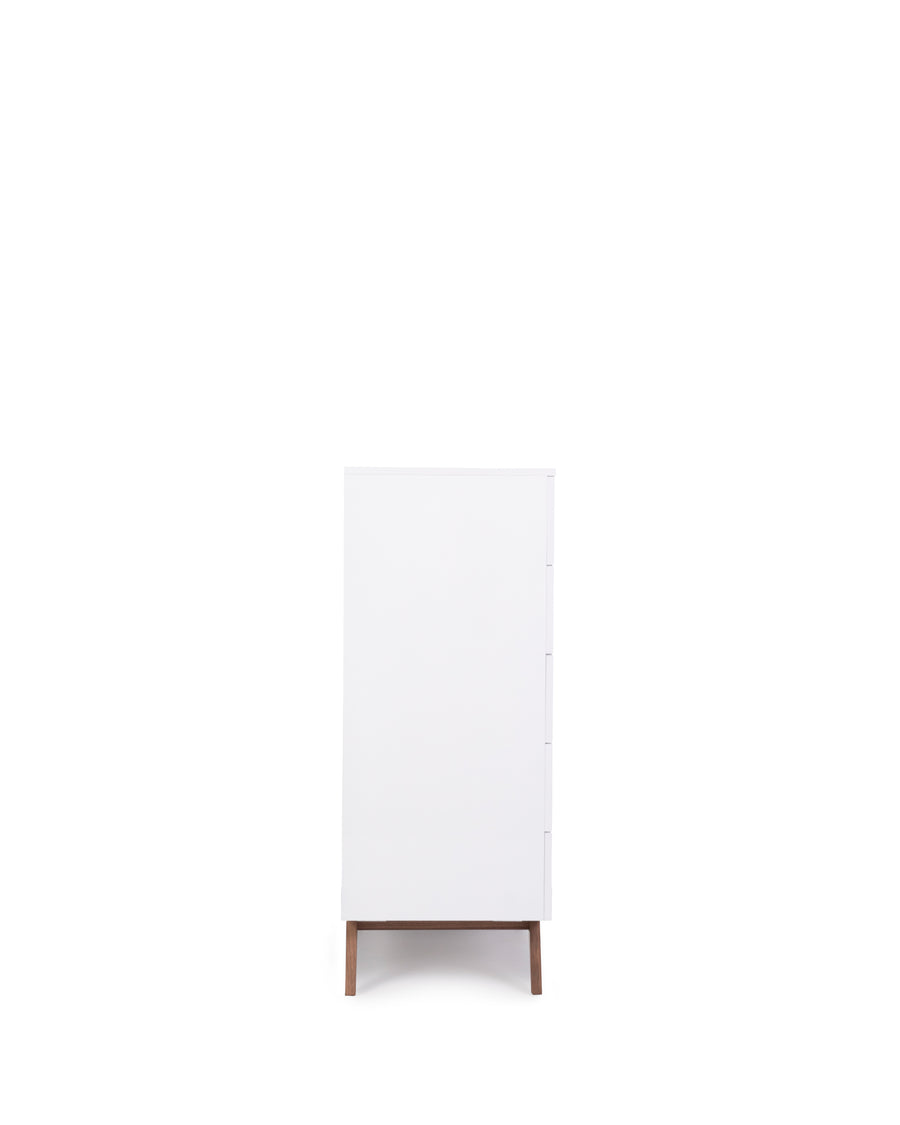 Modern White Tall Dresser | Dahlia | Side View | MoblerOnline