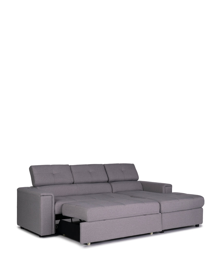 Sectional Sofabed With Built In Wireless Charger | Ezio | Sofabed Angle View | MoblerOnline