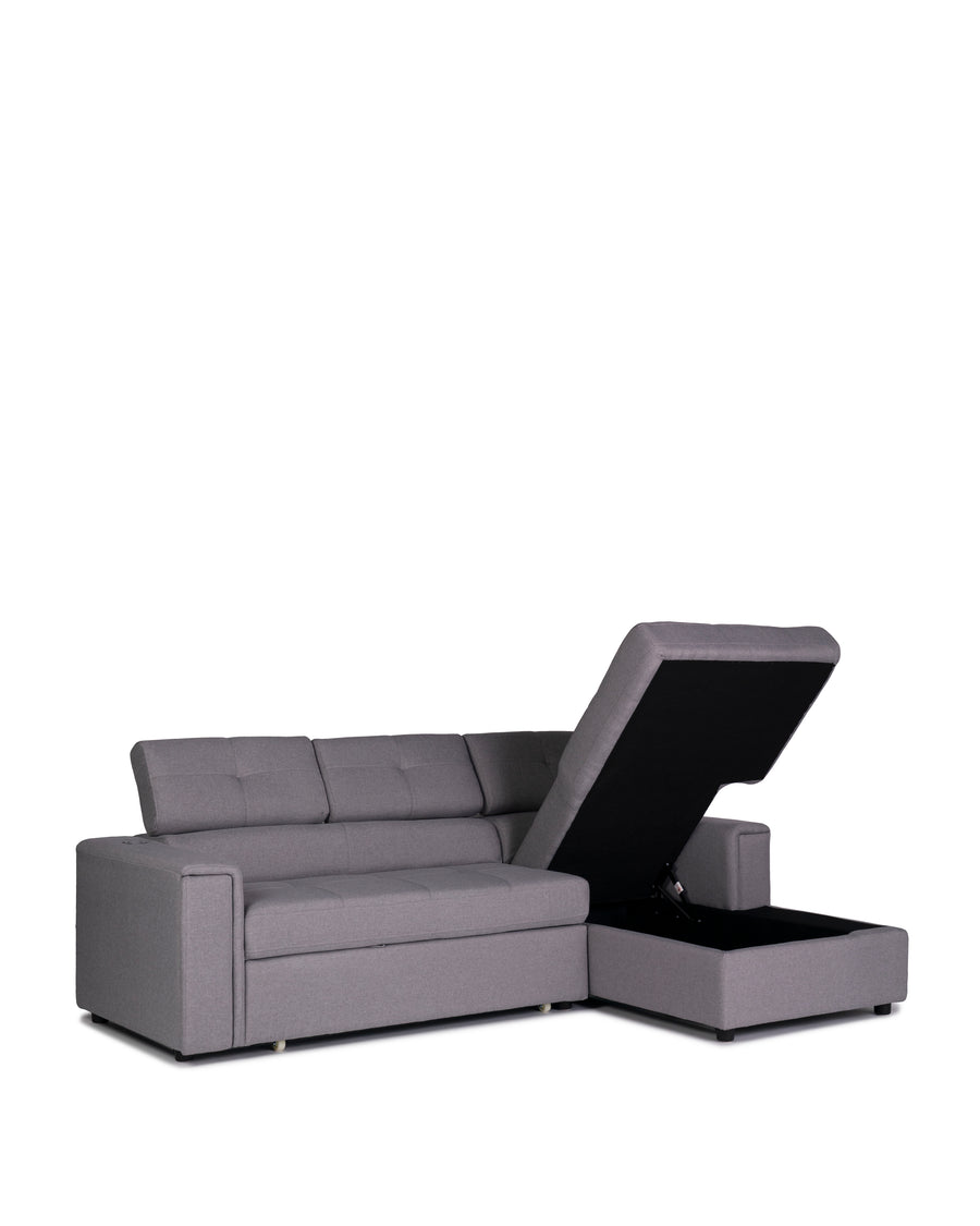 Sectional Sofabed With Built In Wireless Charger | Ezio | Lift Up Chaise View | MoblerOnline