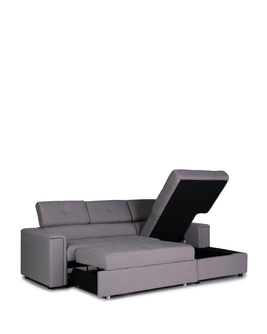 Sectional Sofabed With Built In Wireless Charger | Ezio | Lift Up Chaise With Open Bed View | MoblerOnline