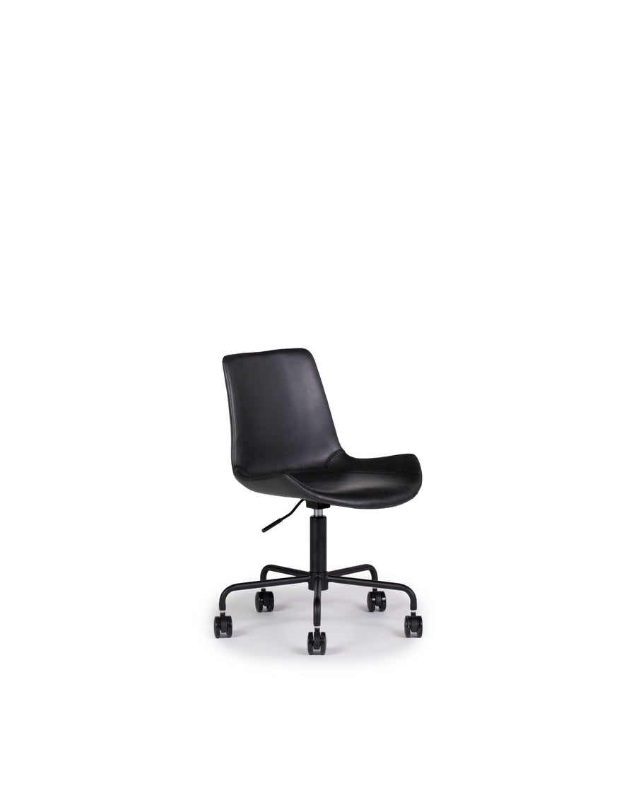 Modern Leather Office Chair In Black | Byron | Angle View | MoblerOnline