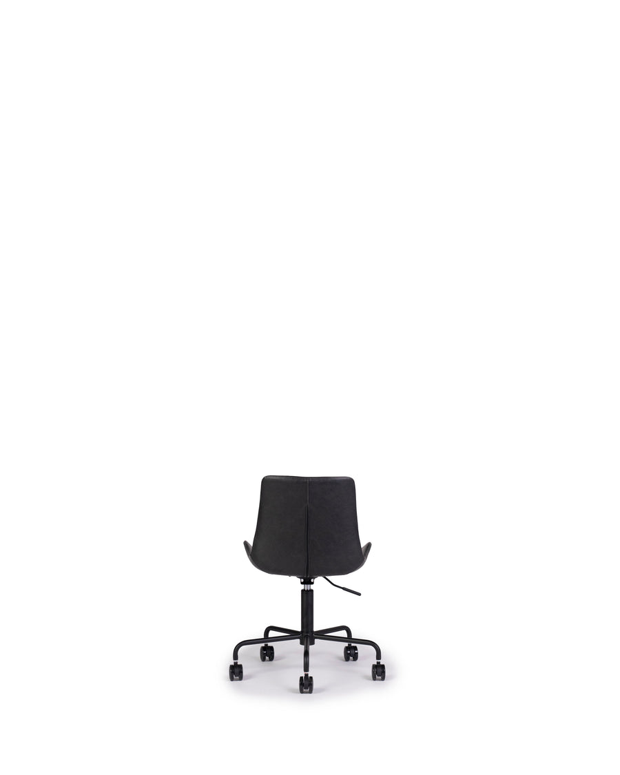 Modern Leather Office Chair In Black | Byron | Back View | MoblerOnline