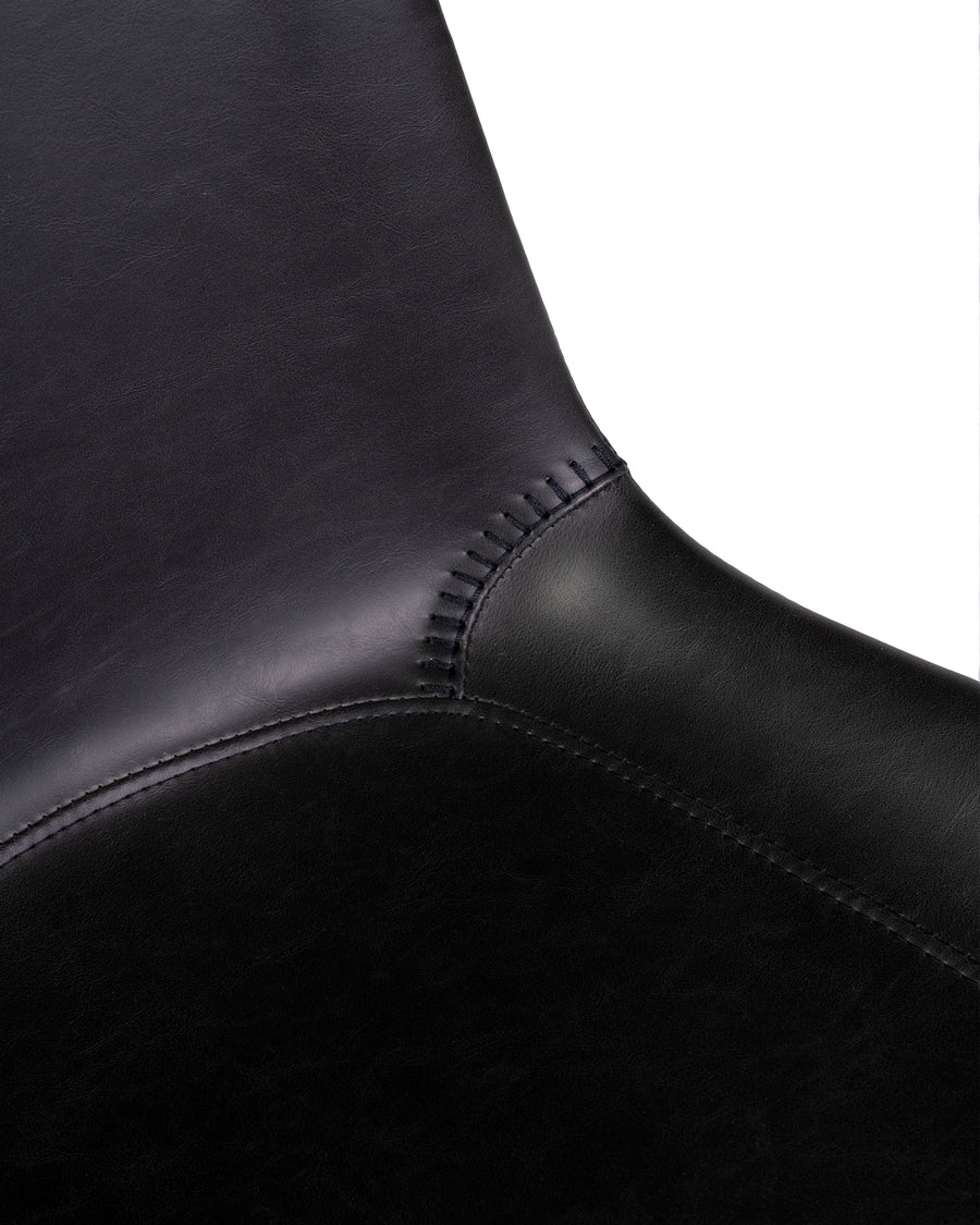 Modern Leather Office Chair In Black | Byron | Close Up Detail | MoblerOnline